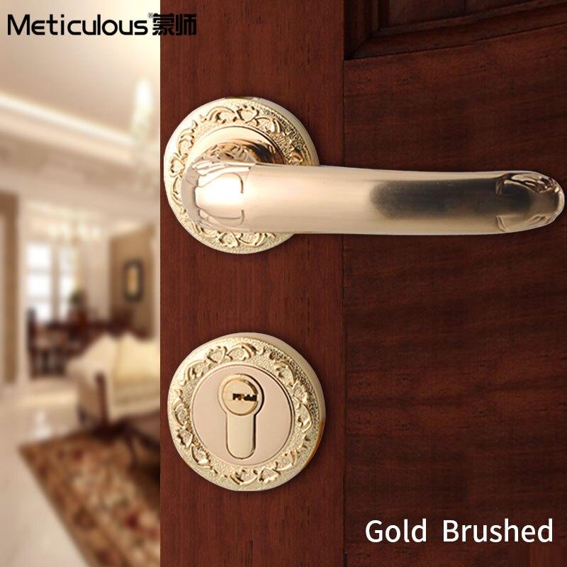 Meticulou Mechanical Split Silent Lock Core Door Handles Lock Bedroom Gate Lock Interior Wood Based Mortice