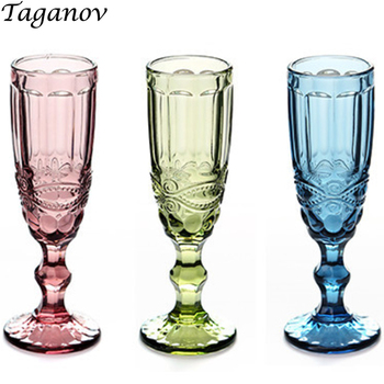 Champagne Glass 3 PCS Wedding Retro Kitchen Dining Bar Drinkware Juice Red Wine Glass Party Green Blue Transparent Empaistic Cup