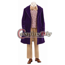 Cosplaydiy Free Shipping Customzied Gene Wilder as Willy Wonka 1971 Purple Jacket Outfit Movie Cosplay Costume