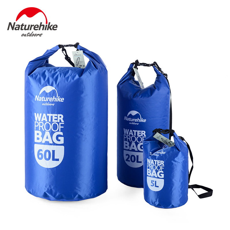 NatureHike 5L 20L 60L Waterproof Bag Ultralight Drifting Dry Bag Beach Drifting Diving Swimming Compression Sack Seal Storage