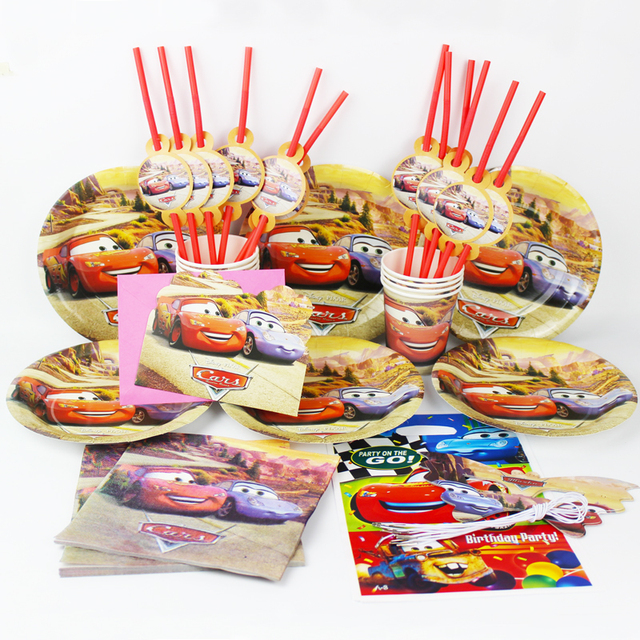 92pcs Cars Kids Happy Birthday Party Decoration Plate Cup Straw Napkins Loot Bags For 12 People Supplie