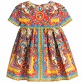 4 Color Del Bebé Muchachas Del Vestido imperio Romano impresión Gasa vestido de Europa y América Vestidos de Princesa ropa de Los Niños al por mayor