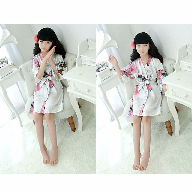 Puseky New Kid Silk floral Robe Kimono Robes Bridesmaid Flower Girl Dress Children Bathrobe Sleepwear Baby Clothes Dressing