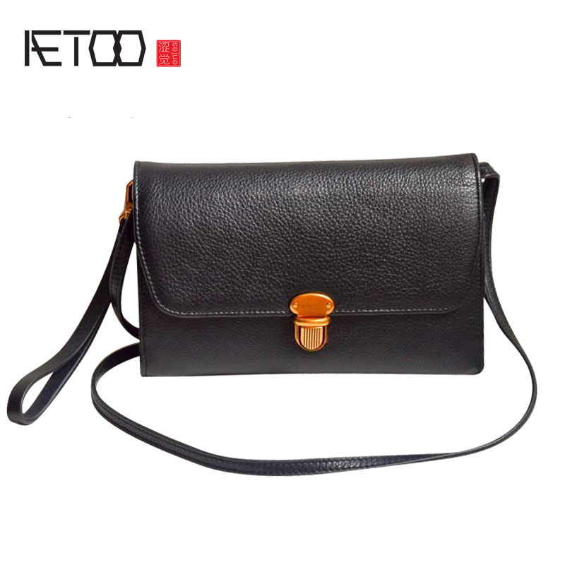 AETOO First layer of leather mini small square bag original leather handbags retro lock buckle shoulder purse coin purse bag bag female new genuine leather handbags first layer of leather shoulder bag korean zipper small square bag mobile messenger bags