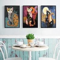 ムトゥアートグスタフ · クリムトの油絵動物猫ポスターホームデコレーションでクリムト絵画リビングルームのためのキャンバスなしフレーム