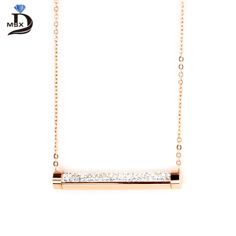 MSX Rose Gold Long Pendant Crystal Women Necklace Fashion Beautiful Style Stainless Steel Female Jewelry Pendant Necklace