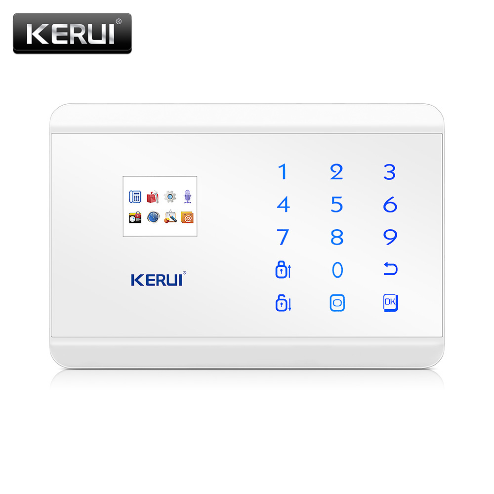 KERUI 8218G White Black Alarm Control Center Panel Android IOS APP control GSM PSTN Home Burglar Security Alarm System 8218g wireless gsm pstn home alarm system android ios app with touch screen backup lithium english