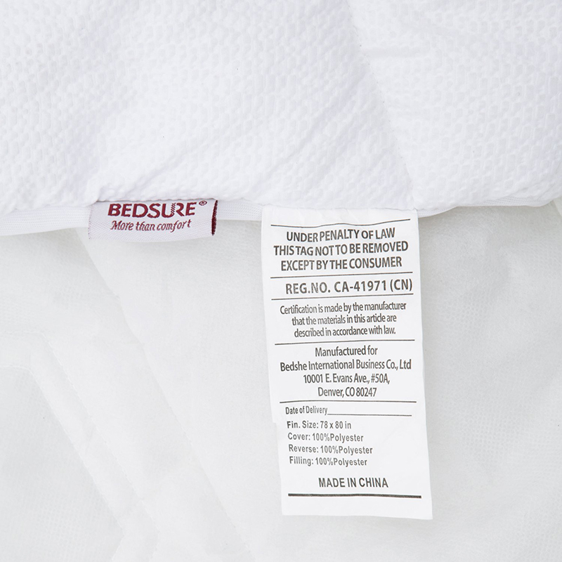White Bed Protection Pad, Quilted Mattress Protector, Polyester Woven, Twin, Full, Queen, King 16