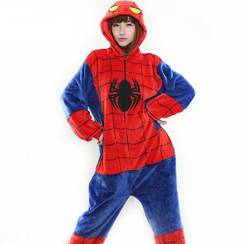 Человек-паук фланелевые костюмы одежды милые пижамы для взрослых унисекс теплые зимние O ...