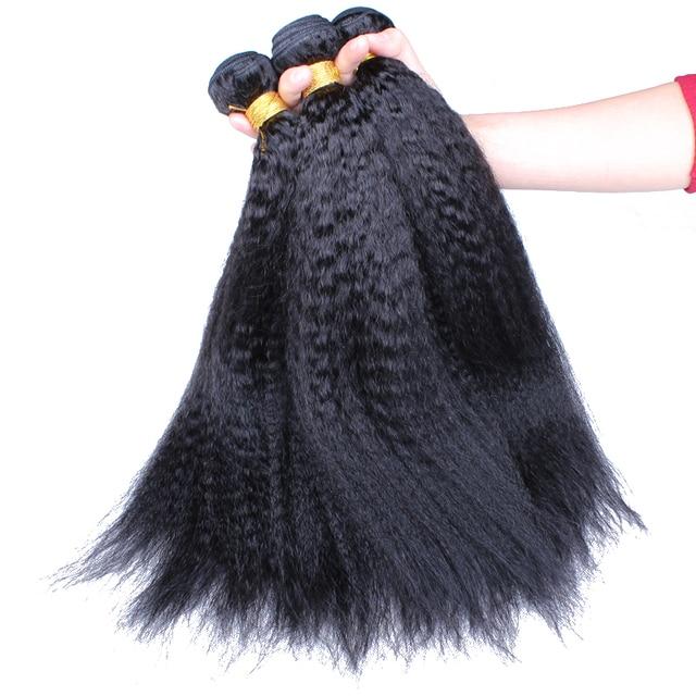 Mongolian Kinky Straight Hair Human Hair Weave Bundles Three Bundles