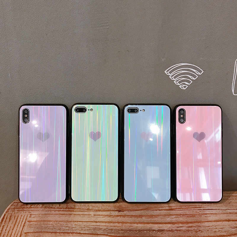Tempered Glass Phone Case For iPhone Xs Max Xs Case For iPhone6 6S 7 8 Plus Pattern Aurora Lovely Heart Back Cover Case