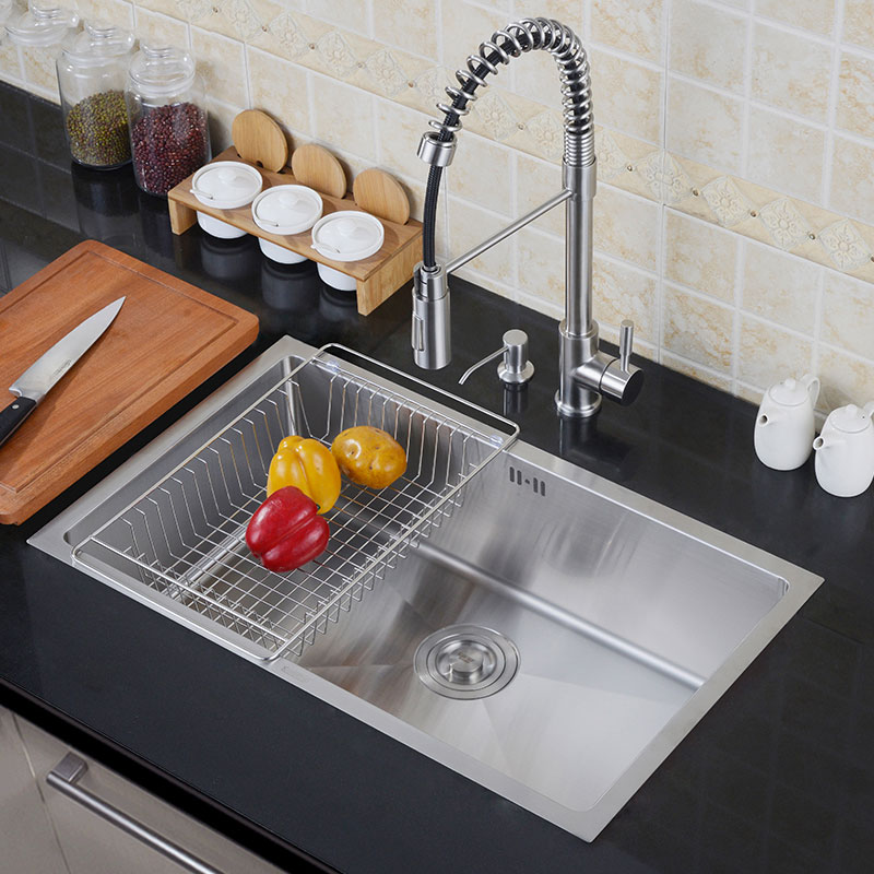 kitchen 304 stainless steel sink single tank set of thick handmade dishes to be applied under the Kitchen Basin faucet tapkitchen 304 stainless steel sink single tank set of thick handmade dishes to be applied under the Kitchen Basin faucet tap