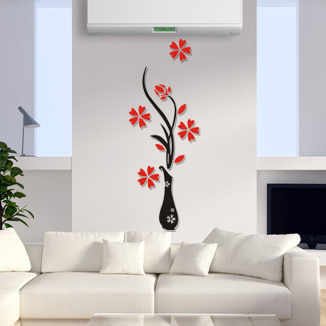 3D Plum Vase Wall Stickers Home Decor Creative Wall Decals Living Room  Entrance Painting Flowers For