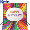 Kate Photographic Background Happy Birthday Party Rainbow Colored Stripes No Creases Summerbackdrops Newborn Kids 150x200cm