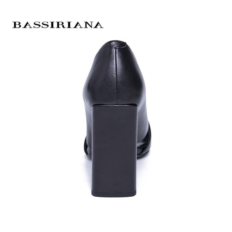 BASSIRIANA 2019 zapatos de tacón alto de cuero Natural genuino sandalias de mujer slip on verano negro tamaño 35 40-in Sandalias de mujer from zapatos    3