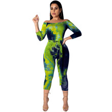 Tie Dye Print Summer Playsuit Sexy Off Shoulder Bodycon Bandage Rompers Womens Jumpsuits Club Party Overalls Streetwear Jumpsuit цена и фото
