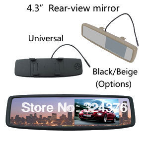 ANSHILONG 4.3 Car Rear View Rearview Mirror Car Monitor 2CH Video Input Brand New Universal Clip-on Free Shipping Dropship