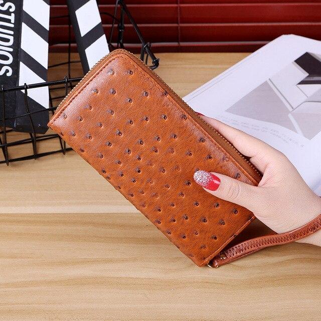 3ffc5da75 Marca Vintage mujeres carteras avestruz carpeta larga estándar alta calidad  Swagger bolso de cuero larga cartera