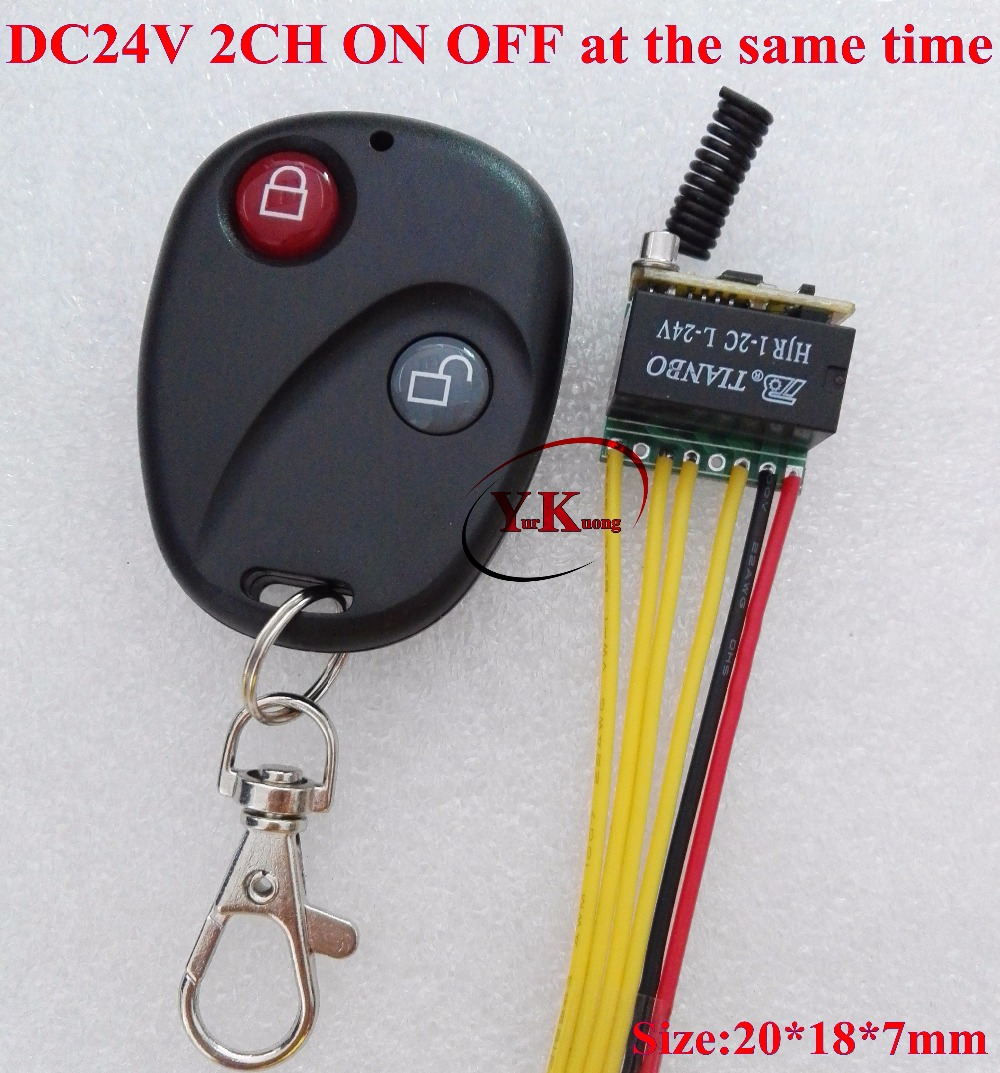 DC 24V Relay Contact Remote Switch 2CH ON OFF at the same time NO COM NC DPDT RF Wireless Remote Switch 2A Micro Mini Size RX TX dc 12v relay remote switch no com nc contact wireless switch 2a relay rf rx normally open close lithium aaa battery supply ask