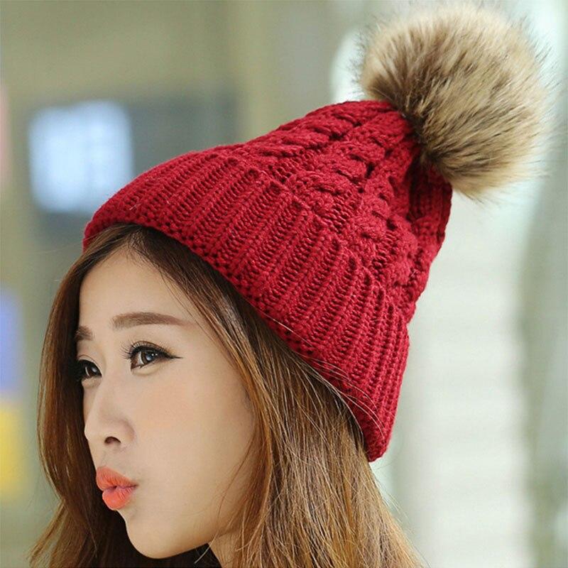 Women s Cap Beanie Knitted Hats Crochet Winter Hats For Women Female Cute  Casual Fur Pompom Beanies Ear Fur Pompom Sport 27-in Skullies   Beanies  from ... a86c94317a6