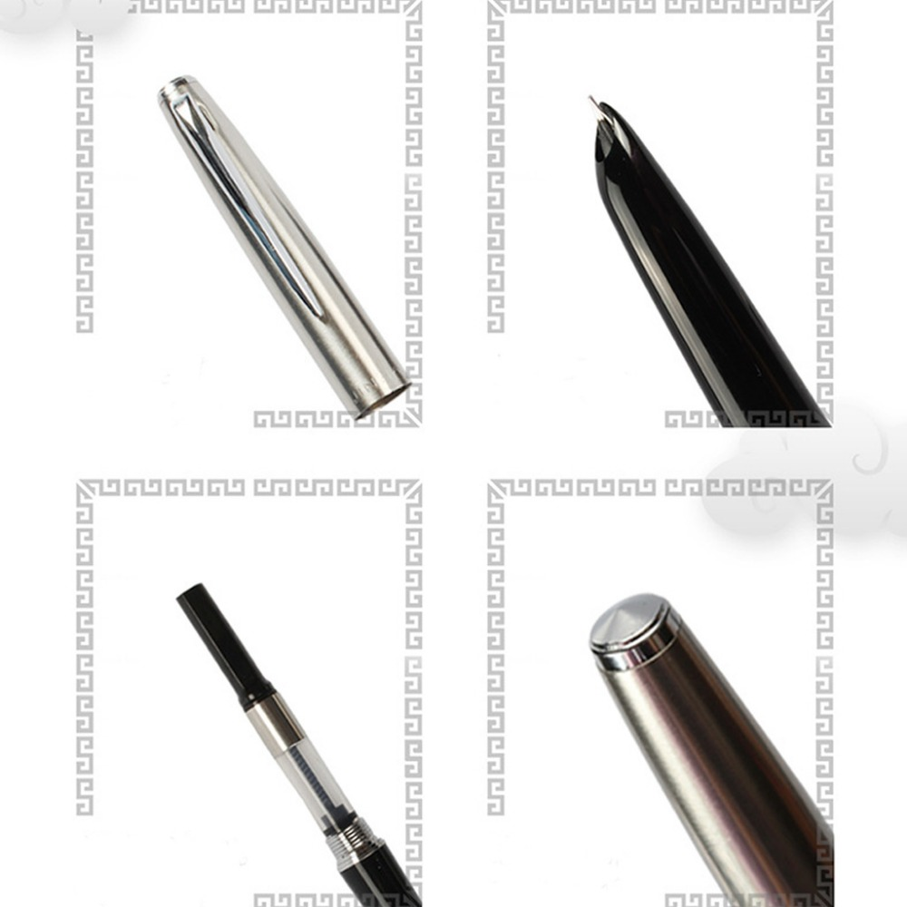 Trim Silver Fountain Pen 0 38mm Fine Nib Smooth Writing Ink Marker for Christmas Gift in Gel Pens from Office School Supplies