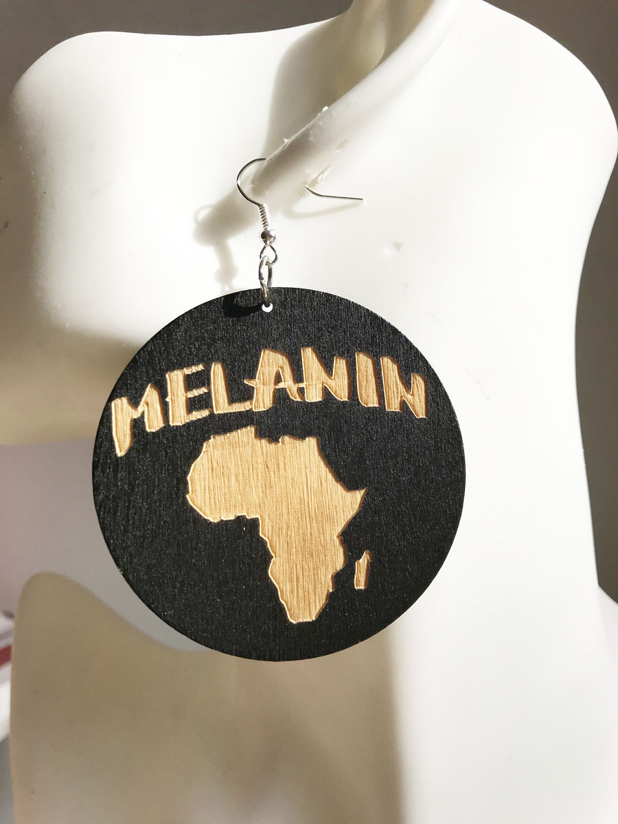 black color 60mm ROUND african map style wood earings-in