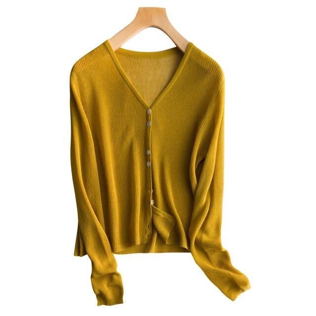 נשים מעיל אפודות 100% פשתן אביב קיץ Vneck אופנה להאריך ימים יותר גבירותיי 4 צבעים חדש אופנה סוודר סריגי משלוח חינם