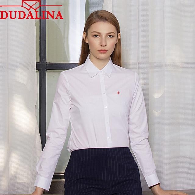 a35d2c60ed Dudalina Mulheres Camisa Senhora Camisas Brancas Plus Size S-4XL Verão Com  Decote Em V