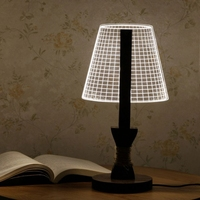 LED Reading Lamp 3D Table Lamp Night Light Adjustable w/ Lampshade