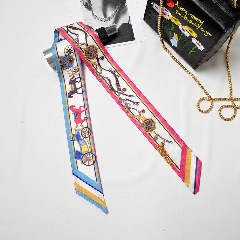 Women Bag Ribbon Silk Scarf Carriage Printed Christmas Neckties Headband Bow Tie Handle Bag Ribbon Elegant Long Scarves Wraps