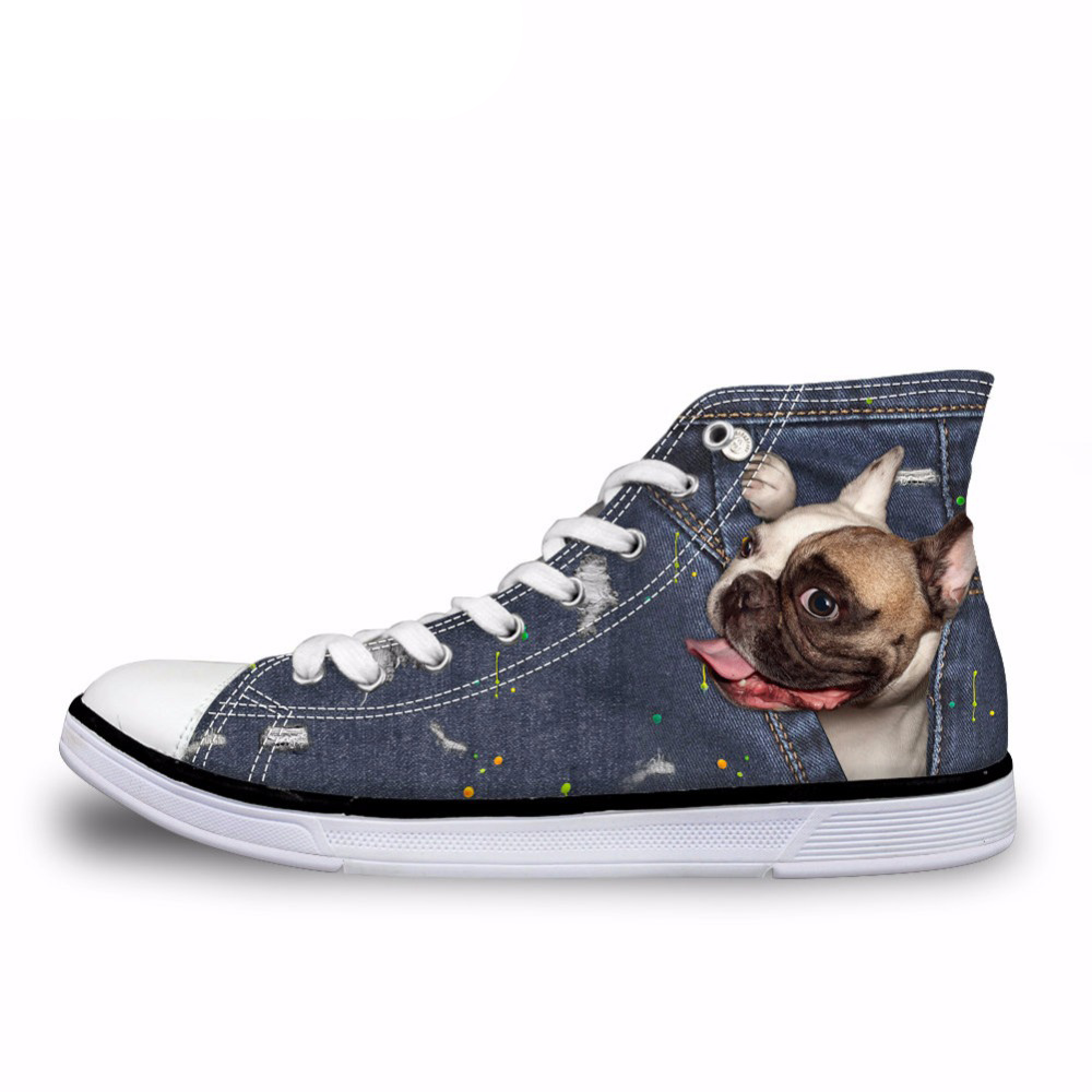 NOISYDESIGNS Female Cute French Bulldog Frenchie Casual Vulcanize Shoes Women 3D Denim Pocket Animal High Top Canvas Shoes Woman