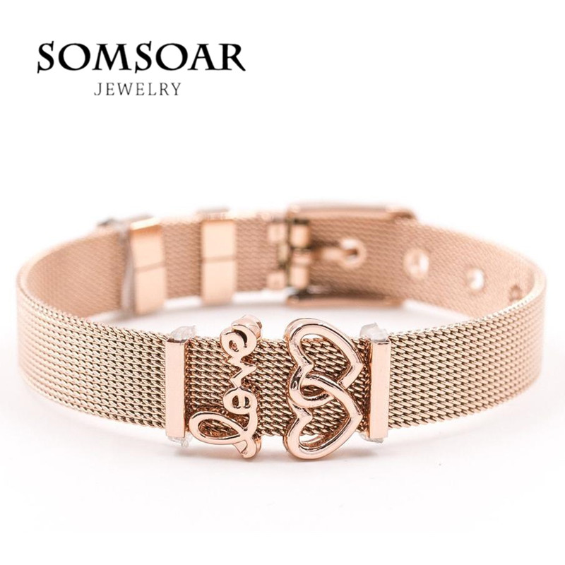 Dropshipping Somsoar joyería Rose Gold SOULMA pulsera de malla conjunto de brazalete de acero inoxidable como regalo de San Valentín para mujeres
