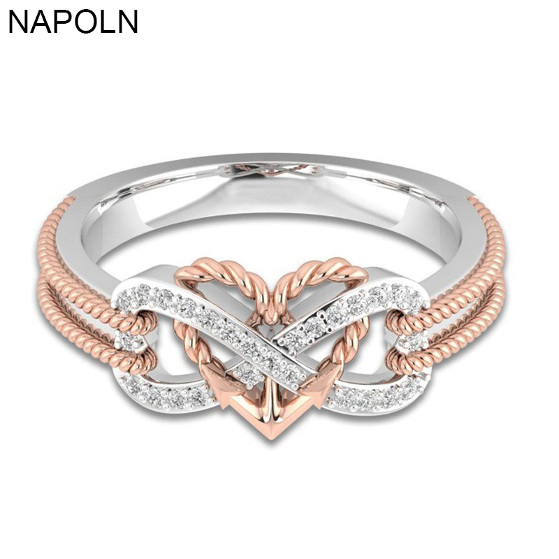NAPOLN Wedding Engagement Ring CZ Love Two Colors Heart Infinity Ring Cubic Zirconia Rings For Women Jewelry Fashion Accessories
