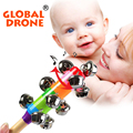 Safe Baby Rattle Rainbow Toy kid Pram Crib Handle Wooden Activity Bell Musical Toy For Baby Bed