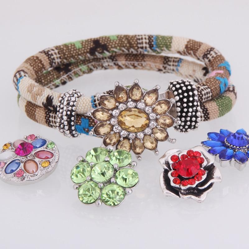 snap button armband cloth jewelry B202 bohemian bangles