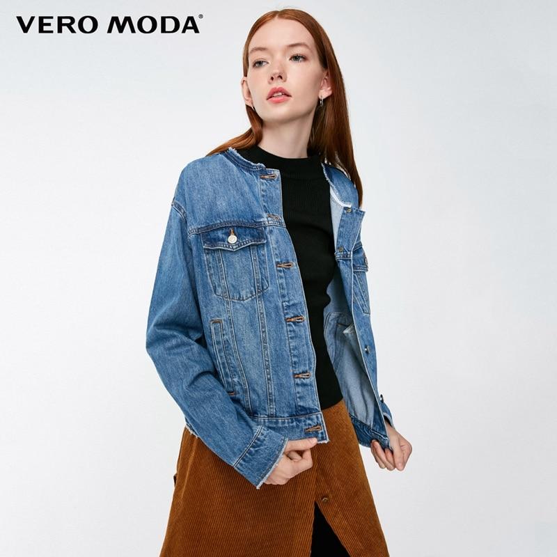 Denim Jacket Vero Moda Long-Sleeves Women's New Washed Raw-Edge-Neckline 318357513