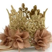 1pcs/lot  Lace Crown Headband Macthing Chiffon Flower For Baby Girls Photo Prop Flowergirl Hair Accessory