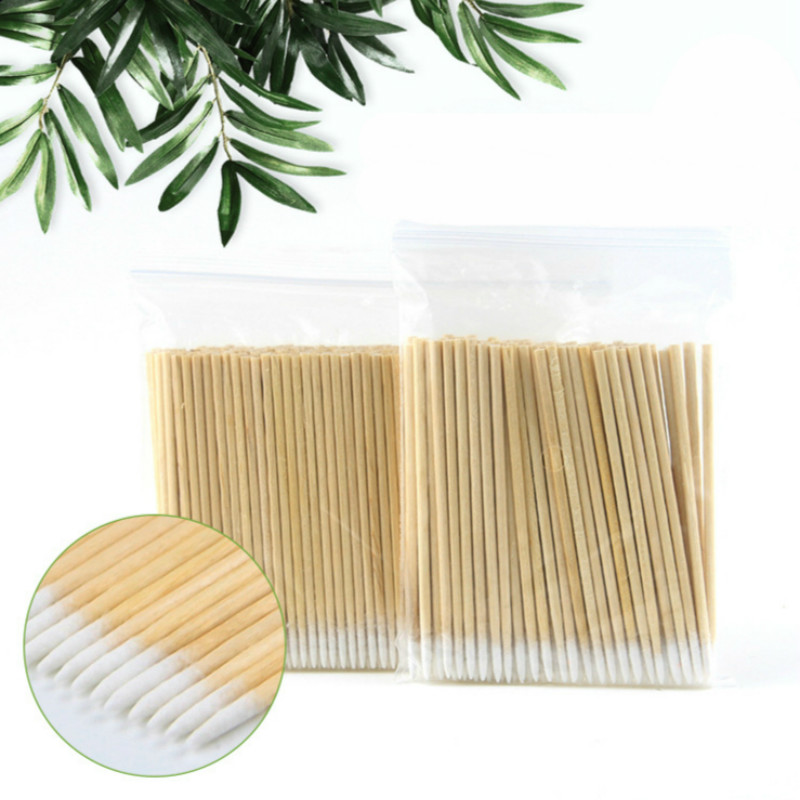 100pcs Small Natural Headed Special Pointy Cotton Signature Tattoo Special Swing For Expert Cleansing Cotton Swabs For Bath