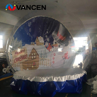 Good show christmas decoration inflatable snow ball 3m diameter inflatable snow globe for photograph