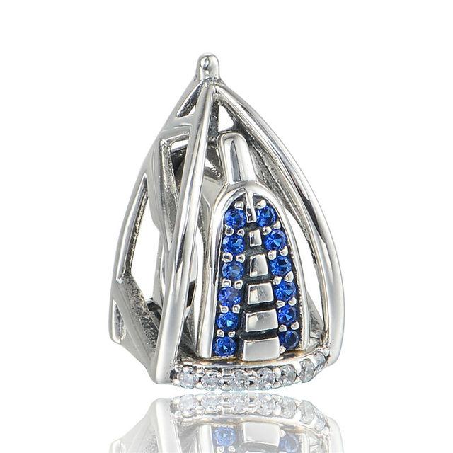 AI burj Arab Azul Cristal Encantos Fazer Jóias DIY para mulheres Marca de Moda 925 Sterling Silver Jewelry Fit Pan Charme pulseiras