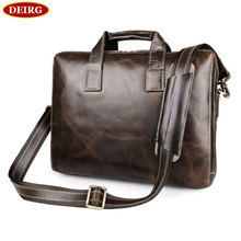 Vintage Oil Glossy Leather Cowhide Two Zipper Compartments Men's Briefcase Business Handbag Fit For 15 Inch Laptop PR577167C-1