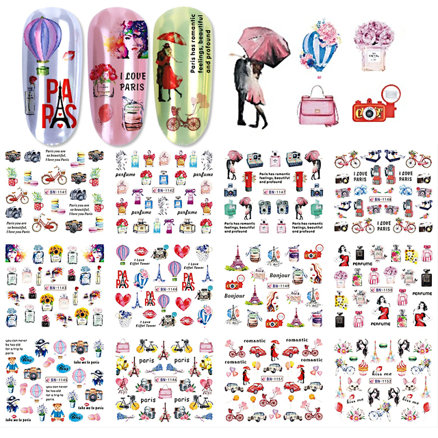 12pcs Nail Art Stickers Romantic City Flowers Wraps Perfume Lovers Balloon Rose Beauty Girls Decals Nails Decor BEBN1141 1152