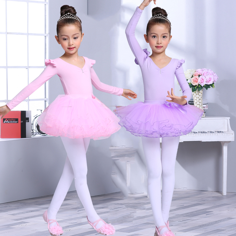 children's-dance-clothes-long-sleeved-short-sleeves-font-b-ballet-b-font-skirts-girls'-exercise-suits-children's-suits-knitted-cotton2551