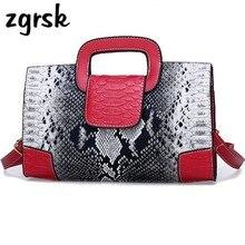 цена на Fashion Women Handbag Snake Pattern Leather Ladies Shoulder Messenger Bag Brand Luxury Women Crossbody Bag Tote For Lady Bags