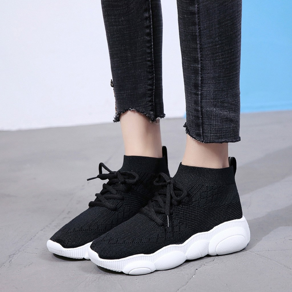 Lady Shoes Round-Toe Fashion Women Sport Wild Casual Stretch-Fabric Breathable