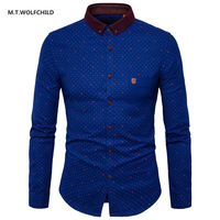 M T WOLFCHILD 2017 Autumn New Men S Long Sleeved Lapel Collar Shirts Fashion Mens Shirts
