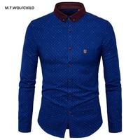 M T WOLFCHILD 2017 Autumn New Men S Long Sleeved Lapel Collar Shirts Fashion Mens Shirts