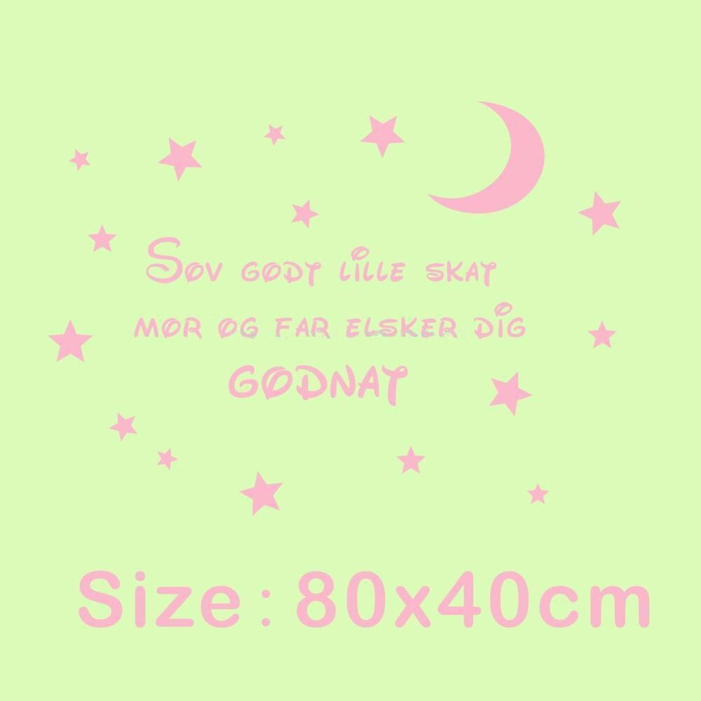 ccf0fb26e62b1 Citations danoises Art pour enfants chambres décoration Sticker mural dors  bien chérie maman et papa t aime bonne nuit lune étoile Den 10 dans Stickers  ...