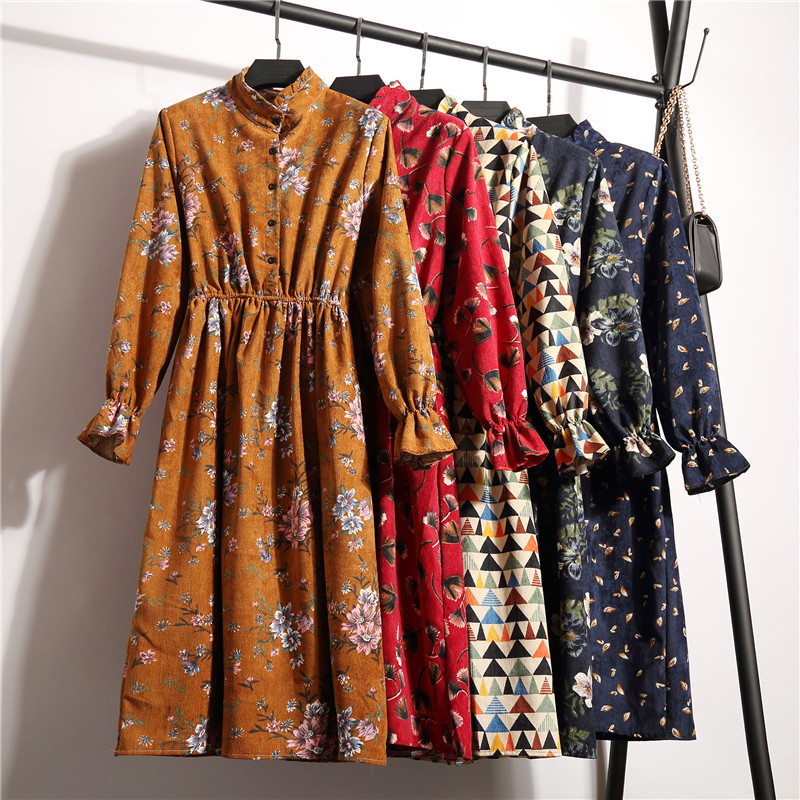 Corduroy High Elastic Waist Vintage Dress A-line Style Women Full Sleeve Flower Plaid Print Dresses Slim Feminino 18 Colors 5