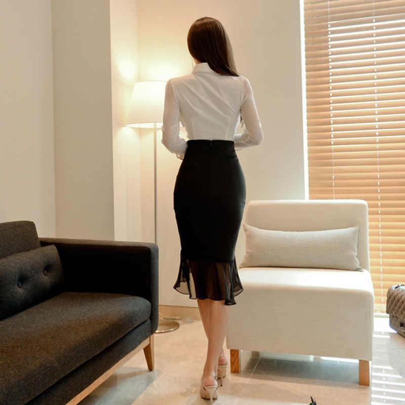 2018 Осенняя офисная белая блузка, рубашка, облегающая черная шифоновая юбка в стиле пэчворк, комплект из двух предметов, Платье До Колена для работы